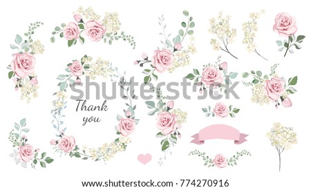 Set of floral branch, wreaths, heart. Flower pink rose, leaves. Wedding concept. Floral poster, invite. Vector arrangements for greeting card or invitation design background