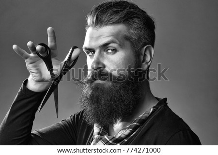 young handsome bearded man with long beard moustache and brunette hair holding hairdresser or barber scissors with emotional face in studio on grey background #774271000