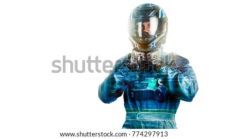 Kart crossing the finish line racer Royalty-Free Stock Photo #774297913
