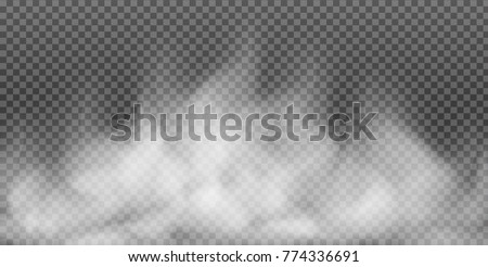 Fog or smoke isolated transparent special effect. White vector cloudiness, mist or smog background. Vector illustration #774336691
