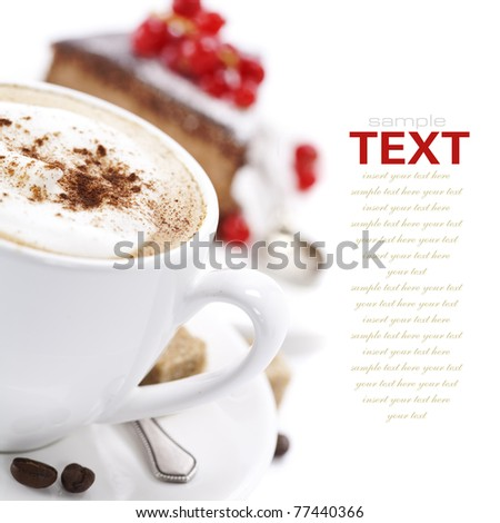 Close-up of white cup of coffee and chocolate cake (easy removable text) #77440366