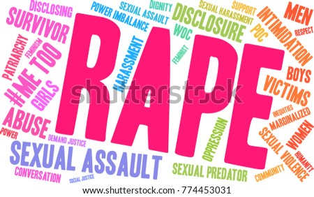 Rape word cloud on a white background.  #774453031