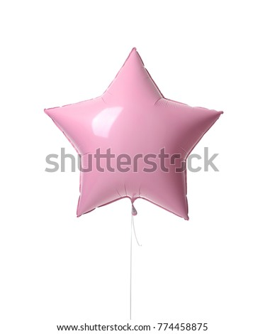 Single pink big 36 inch metallic balloon star object for birthday isolated on a white background