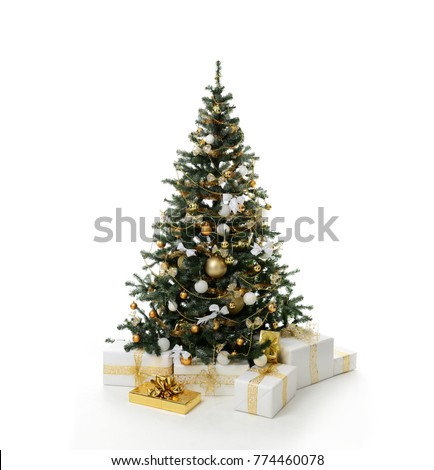 Decorated gold Christmas tree with golder patchwork ornament artificial star hearts balls bells presents for new year isolated on white background #774460078