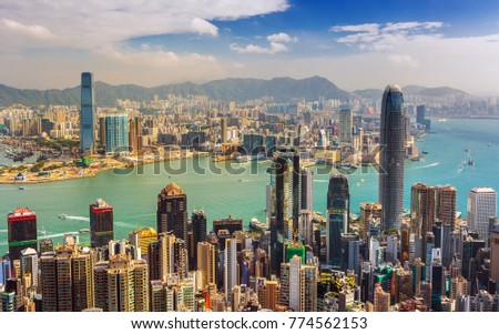 HONG KONG ,CHINA-NOVEMBER 11, 2017: Amazing view on Hong Kong city skyline at sunrise from the Victoria peak, China #774562153