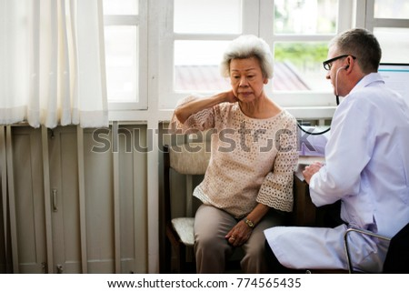 An elderly patient meeting doctor at the hospital #774565435