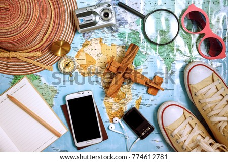Travel plan, trip vacation, tourism mockup - Outfit of traveler Royalty-Free Stock Photo #774612781