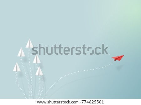 Paper airplanes flying on blue sky and cloud.Paper art style of business teamwork and one different vision creative concept idea.Vector illustration Royalty-Free Stock Photo #774625501
