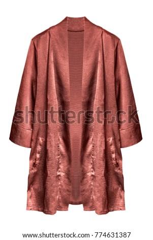 Satin terracotta kimono robe on white background #774631387