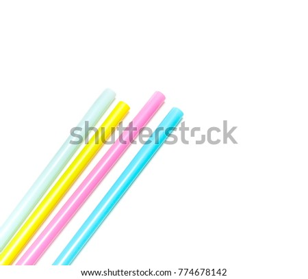 Four pied drinking straws on white background #774678142