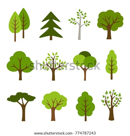 Collection of trees illustrations. Can be used to illustrate any nature or healthy lifestyle topic. Royalty-Free Stock Photo #774787243