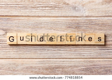 Guidelines word written on wood block. Guidelines text on table, concept. #774818854