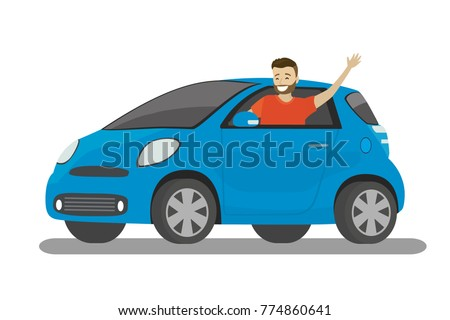 Happy cartoon caucasian male rides in blue car,isolated on white background,flat vector illustration