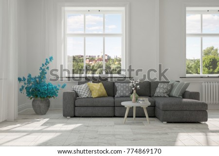 Idea of white room with sofa and summer landscape in window. Scandinavian interior design. 3D illustration #774869170