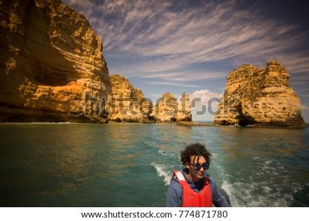 a landscape at the rocks of Ponta da Piedade near Lagos and Luz at the Algarve of Portugal in Europe.  Portugal, Algarve, April, 2017 #774871780