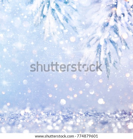 Christmas light background.  Holiday glowing backdrop. Defocused Background With Blinking Stars. Blurred Bokeh. #774879601