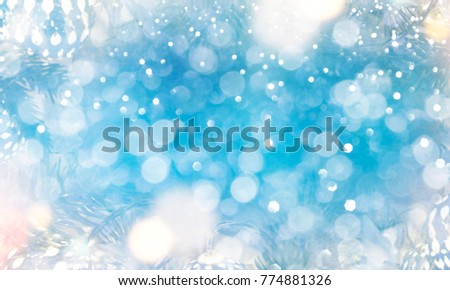 Christmas light background.  Holiday glowing backdrop. Defocused Background With Blinking Stars. Blurred Bokeh. #774881326