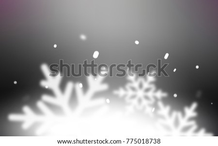 Dark Gray vector cover with beautiful snowflakes. Blurred decorative design in xmas style with snow. New year design for your ad, poster, banner. #775018738