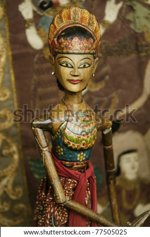 traditional wooden puppet in bali indonesia #77505025