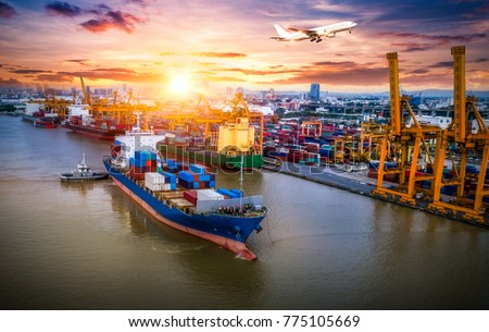 Logistics and transportation of Container Cargo ship and Cargo plane with working crane bridge in shipyard at sunrise, logistic import export and transport industry background #775105669