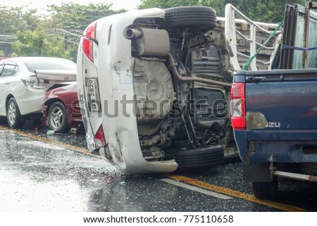 Bangkok, Thailand - December 13, 2017 : Car crash accident on street, Damaged automobiles after collision in Bangkok city. #775110658