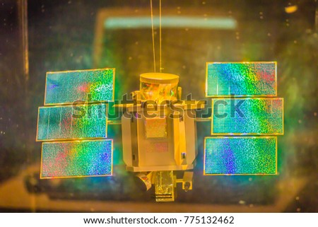 Bangkok, Thailand - November 4, 2017: Model of QuickBird, a high-resolution commercial earth observation satellite, owned by DigitalGlobe launched in 2001 and decayed in 2015 at Bangkok Planetarium. #775132462