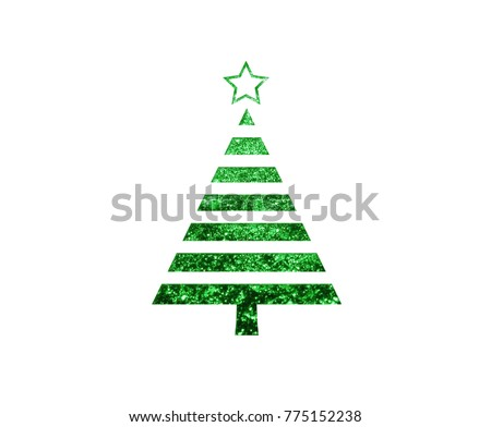 The isolated green glitter Christmas tree flat icon on black background #775152238