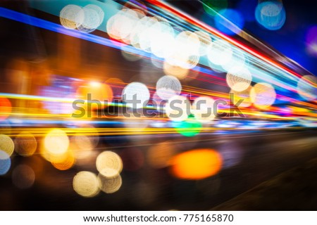 Abstract blur city night traffic background, colorful light trace from night traffic #775165870