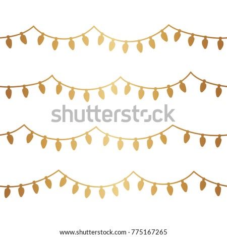 Gold christmas light seamless background. #775167265