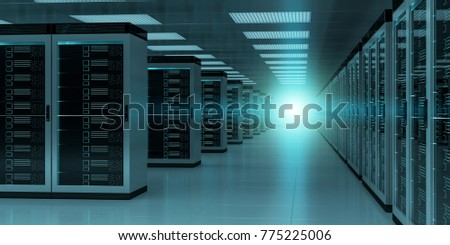 Dark server room data center storage interior 3D rendering #775225006