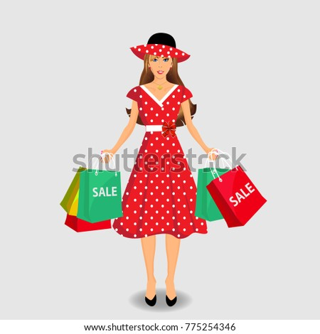 Beautiful woman in red and white polka dots dress and hat holding colored shopping bags isolated on white background.  illustration, clip art. Shopping girl.