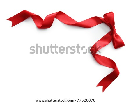 Red satin ribbon with bow isolated on white background Royalty-Free Stock Photo #77528878