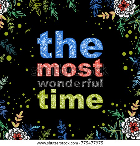 the most wonderful time card design, cute doodle floral elements, feminine style, dark background #775477975