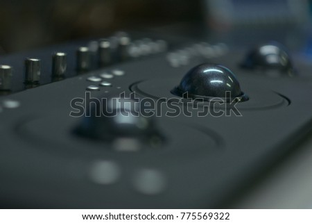 Color correction surface panel with track balls.