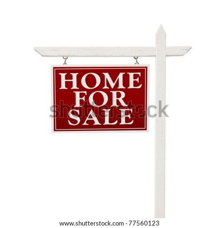 Home For Sale Real Estate Sign Isolated on a White Background.