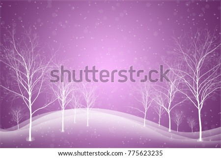 abstract snowy winter landscape illustration, blurred lights with snowflakes - Christmas and New Year concept #775623235