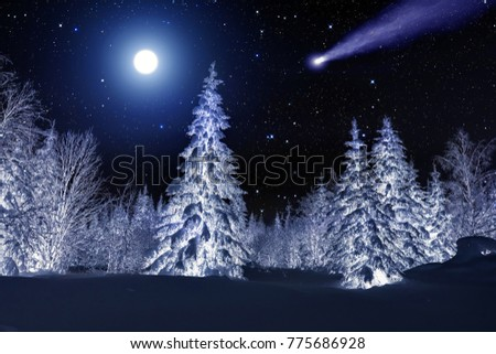 Moon and comet over night winter forest. Night sky with stars. Winter night landscape. Spruce forest in winder #775686928