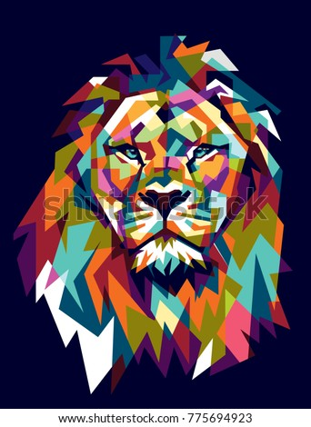 Colorfully Lion. Lion Logo. Creative Artwork