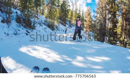 Colorado, USA-December 2, 2017. POV point of view. Skiing Colorado Rokies in early ski season. #775706563