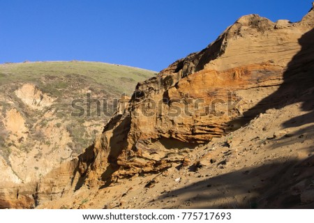 Cliffs Pushed by Plate Tectonics at McClure's Beach, Point Reyes Royalty-Free Stock Photo #775717693