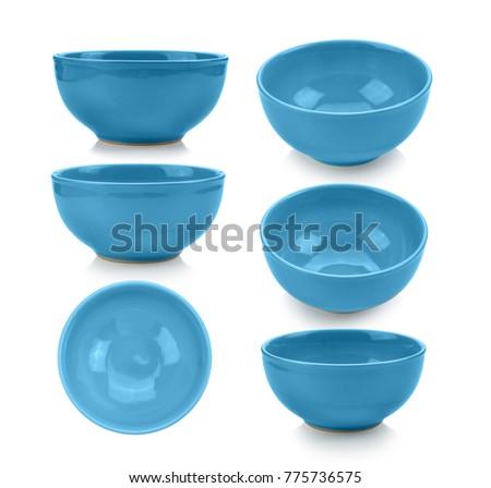 blue bowl on white background Royalty-Free Stock Photo #775736575
