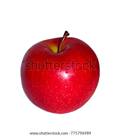 Ripe bright red with brown dots apple grade Champion isolated on white background #775796989