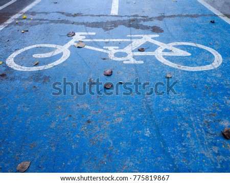 Close up of old Blue Bike Lane Sign #775819867