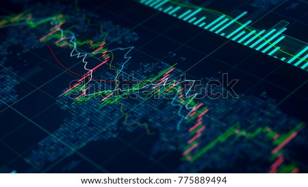 Stock exchange statistics on screen, index prices growing and falling, trade  #775889494