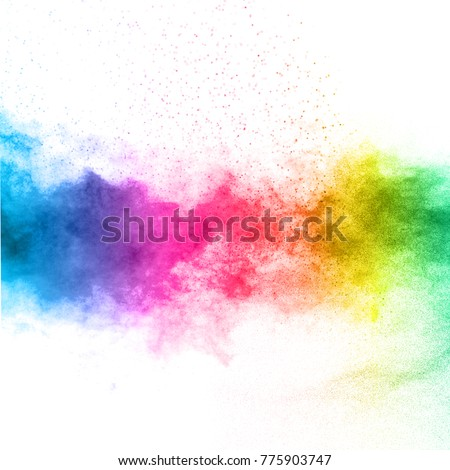 The explosion of multi colored powder. Beautiful rainbow color powder fly away. The cloud of glowing color powder on white background #775903747