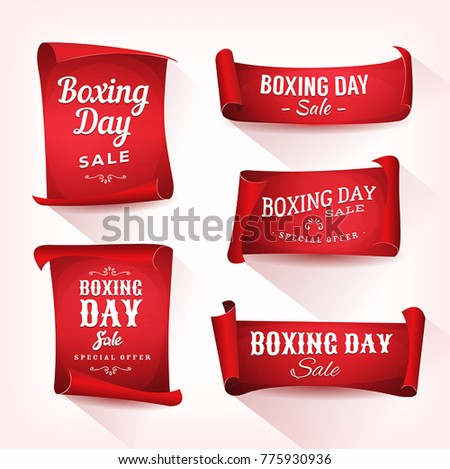 Set of Boxing Day Sale Parchment And Banners/ Illustration of a set of elegant design christmas and boxing day on red parchment scroll, for december and winter holiday sale #775930936