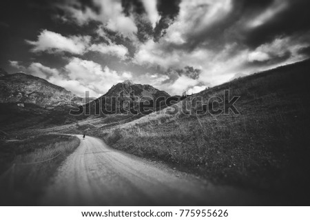 Dramatic mountains landscape in black and white