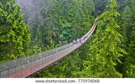 areial view of capilano suspension bridge vancouver canada #775976068