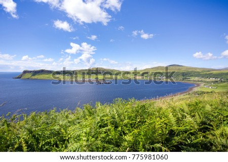 Photography from the coast of the Skye island. In the background you can see the bay, the harbor and beach. #775981060