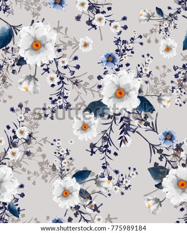 Beautiful seamless watercolour illustration wild blooming floral pattern, delicate flowers, white, blue and light blue flowers, greeting card template on light grey background. #775989184